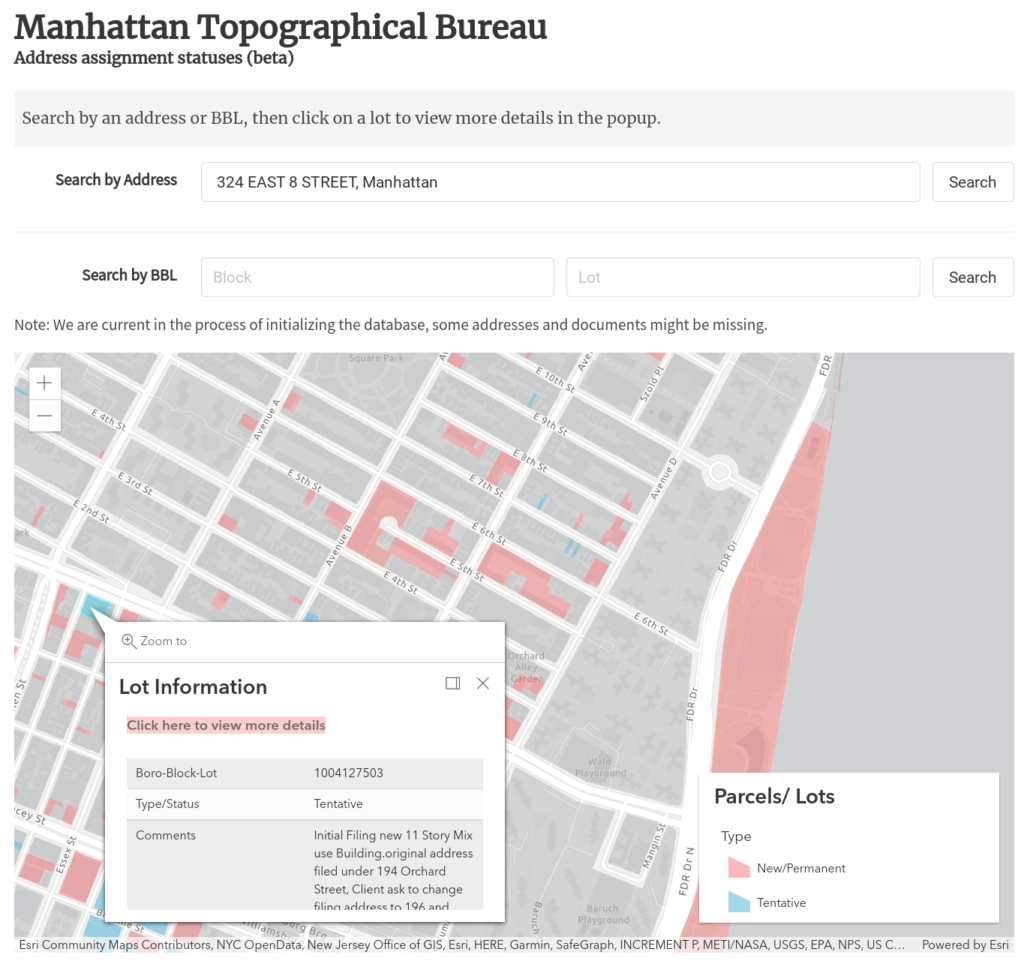 Screenshot of the landing page. Either search by Address or BBL, or explore the map to see a quick summary of type, statuses, and comments associated with each lot.